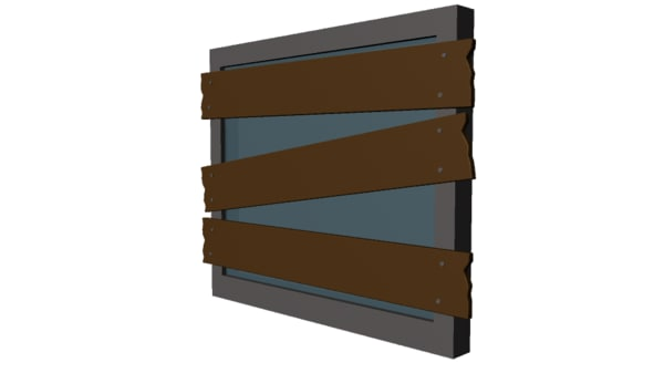 free obj mode basic wooden plank barricade
