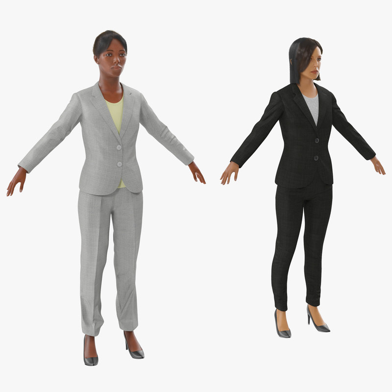 rigged business womans 3d model