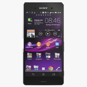3d model sony xperia z3 black