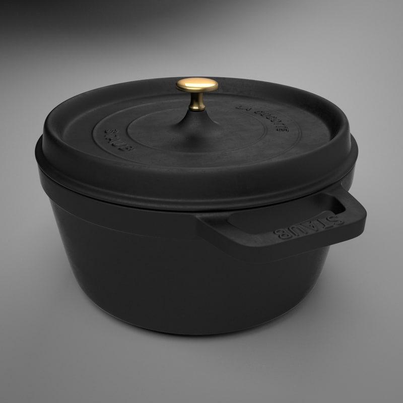 staub la cocotte cooking pot 3d max
