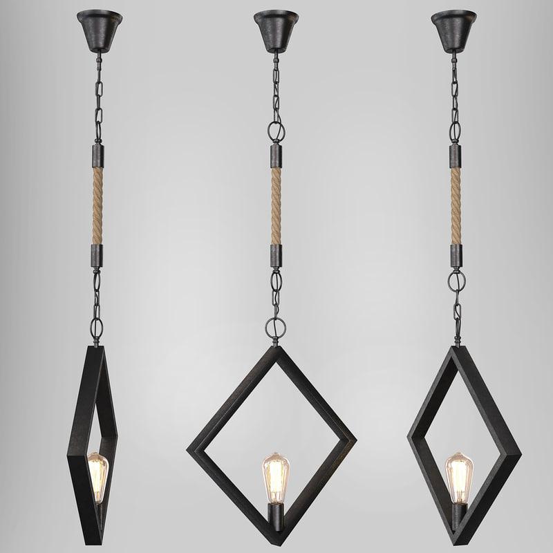 3d loft pendant light model