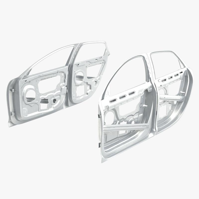 3d car door frames rigged