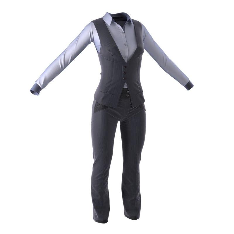 3d women suit 6 modeled
