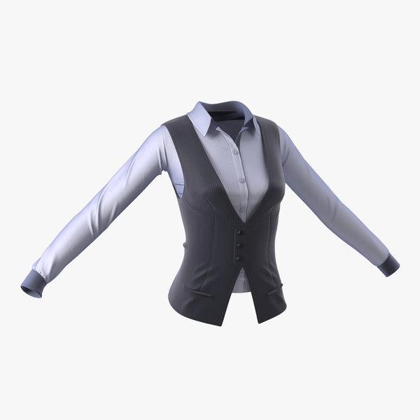 womens waistcoat set 3d model