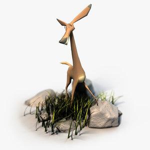 3d cartoon deer rigged model