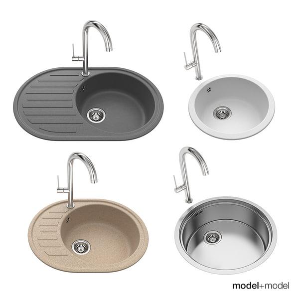 sinks tap kitchen 3d model