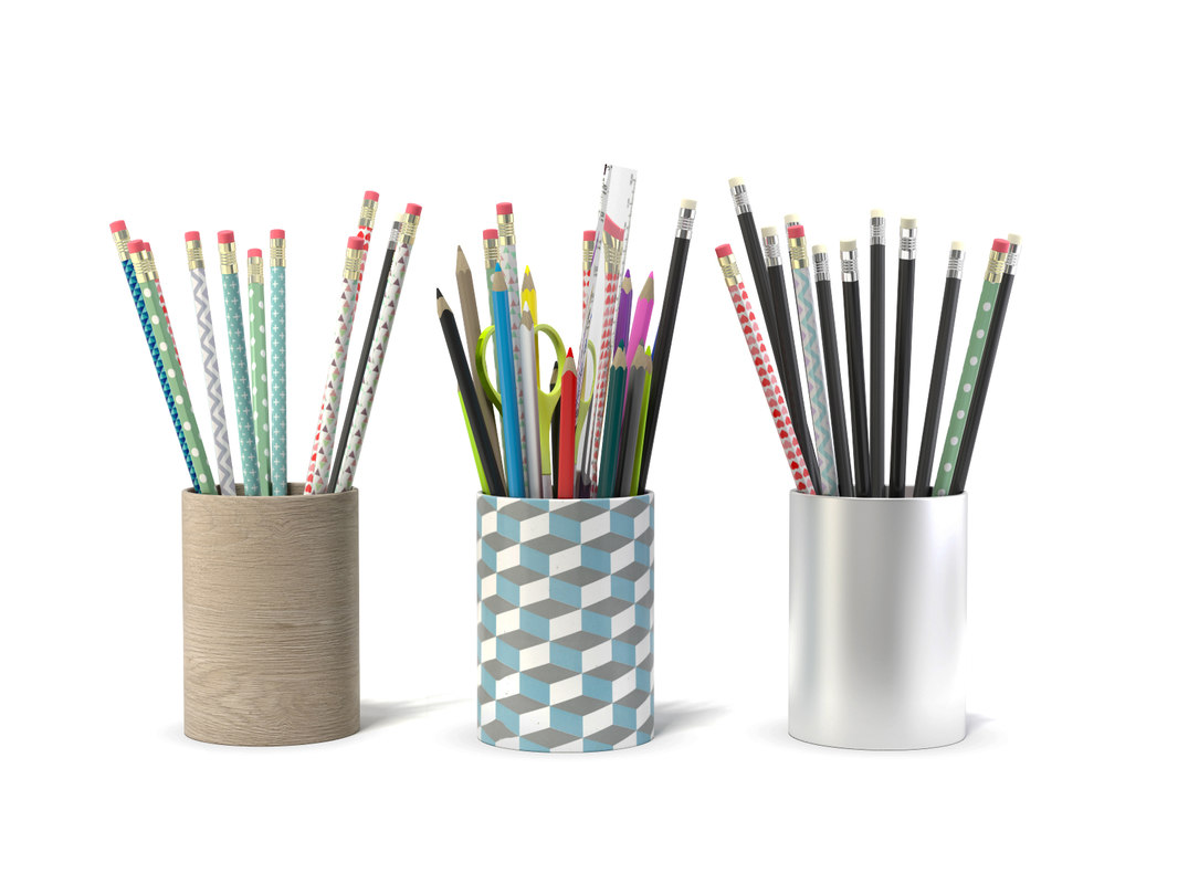 3d max pencils crayons ciseaux 3