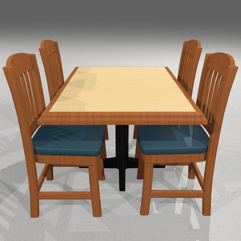table chair restaurant 3d model