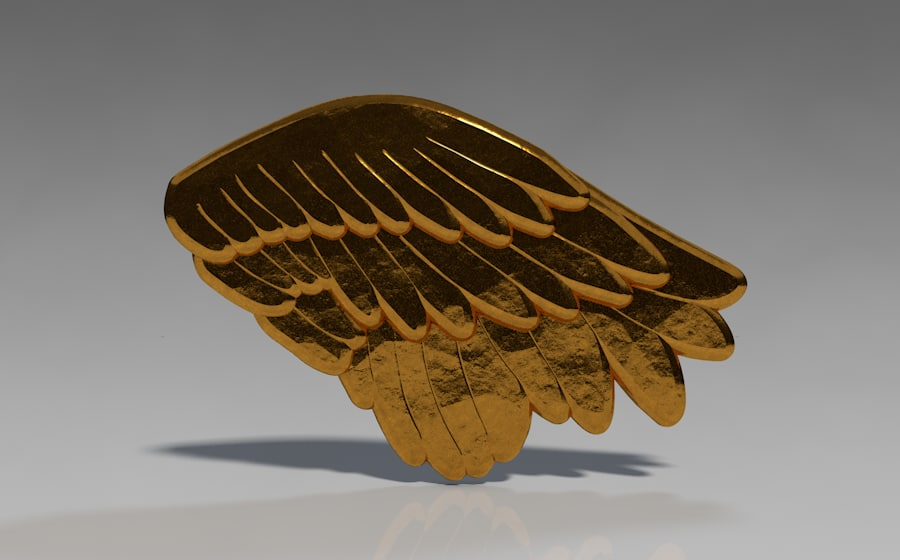 wings gold metal 3d model