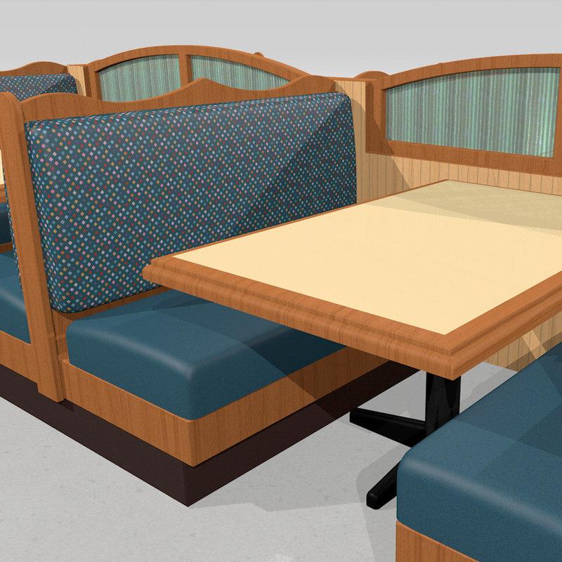 3d restaurant booth tables model