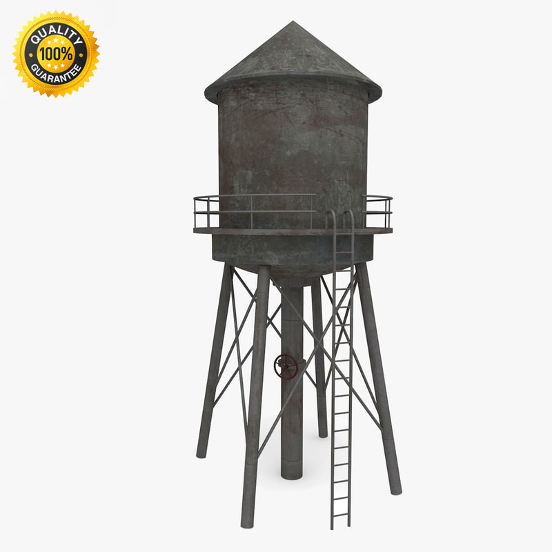 3d weathered water tower model
