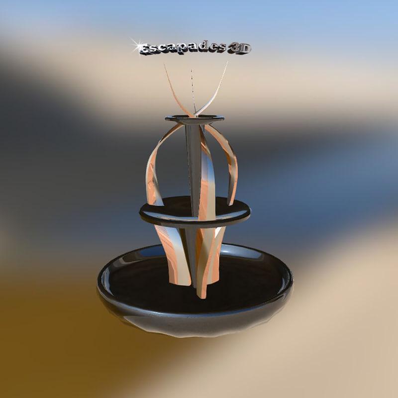 water fountain modern art 3d model