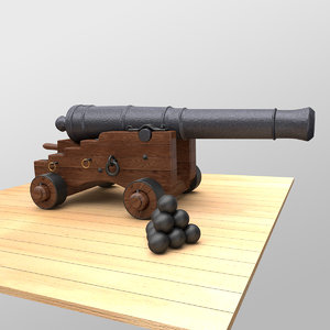 naval cannon o 3d model