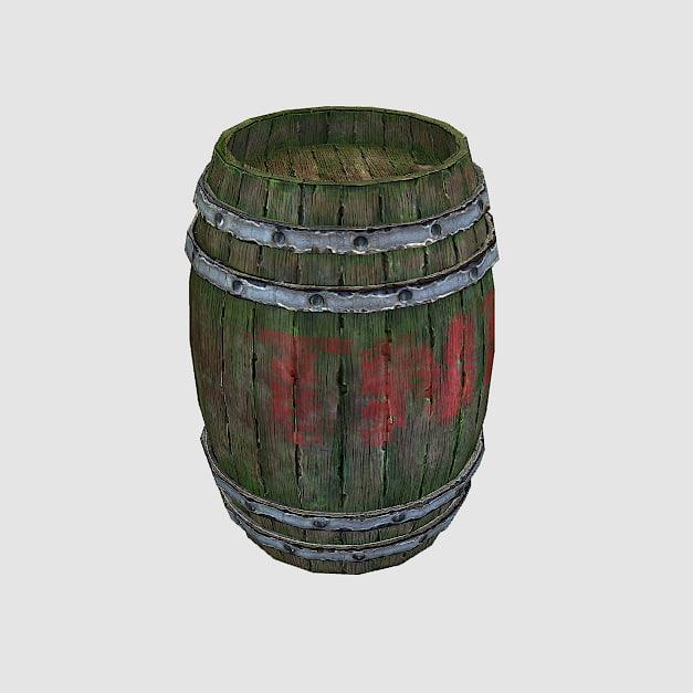 free 3ds mode wooden barrel