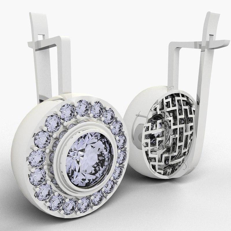 3d model 1 earrings art