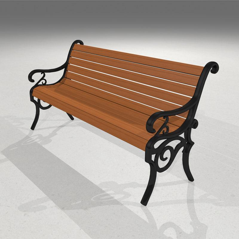 park bench wood 3d model