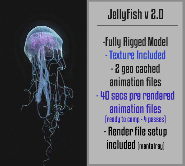 3d model jellyfish fish