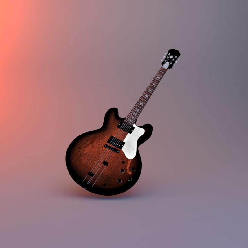 3ds max semi-acoustic guitar