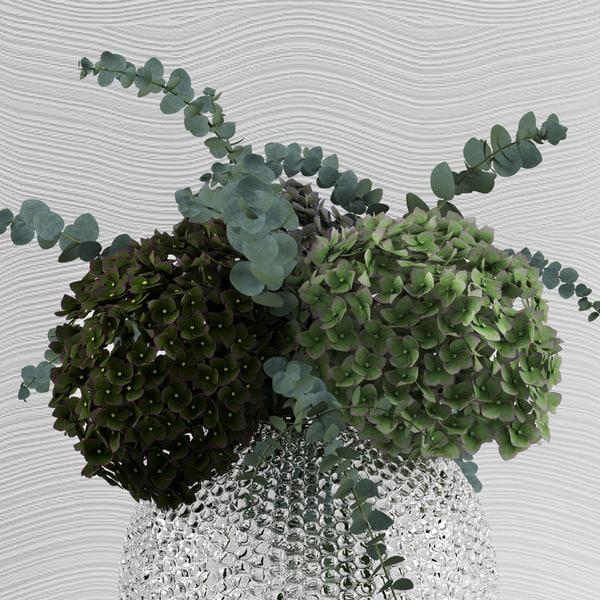 3d bouquet hydrangeas baby blue model