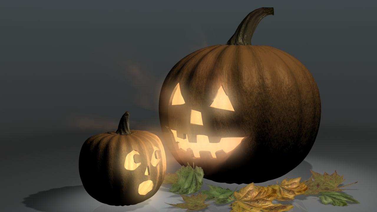 3d jack-o-lanterns fall leaves model
