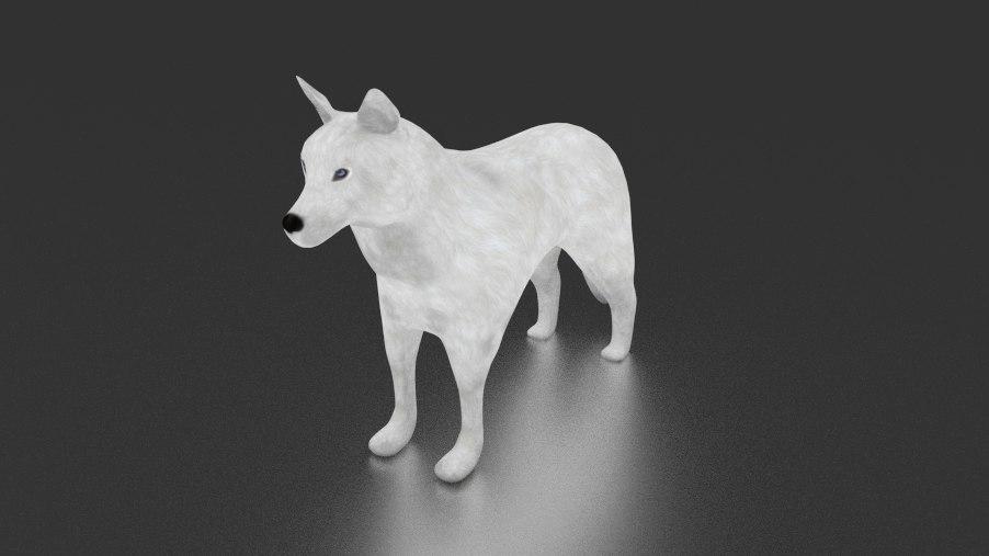 3d white siberian husky