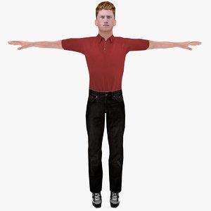 realistic russian boy rigged 3d obj