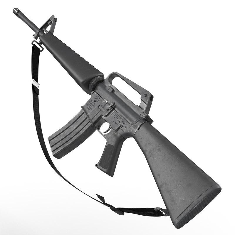 3d model assault rifle m16 2