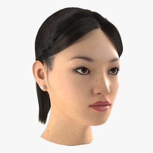 3dsmax asian woman head hair