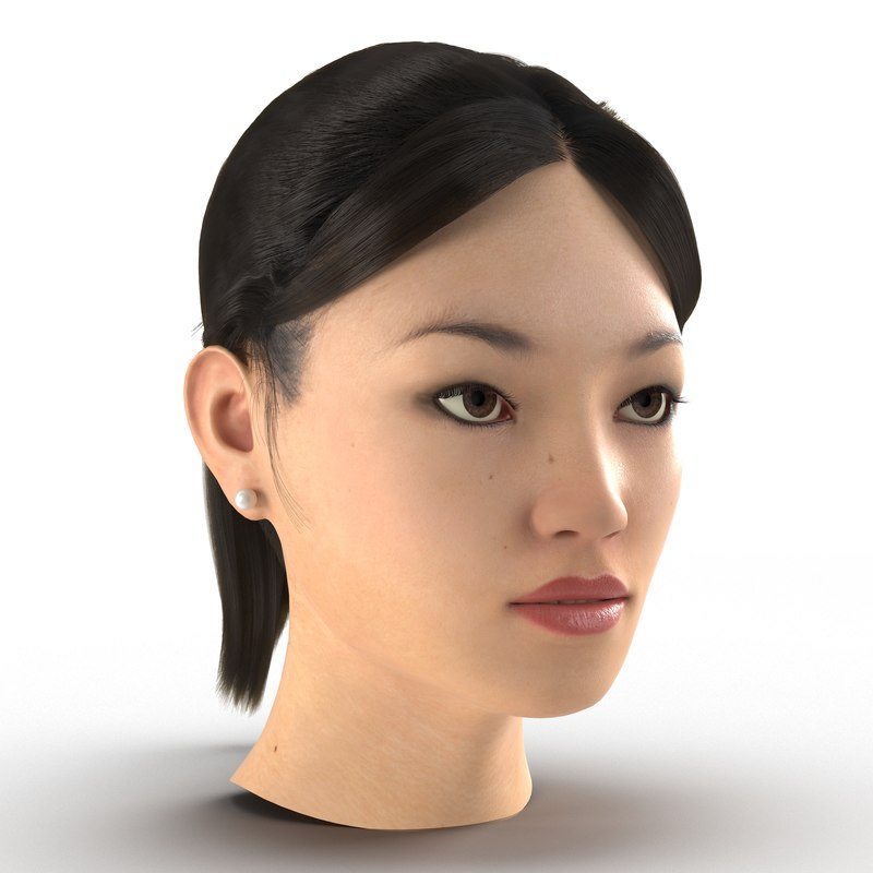 3dsmax asian woman head hair