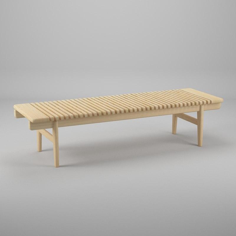 wegner bar bench furniture 3d model