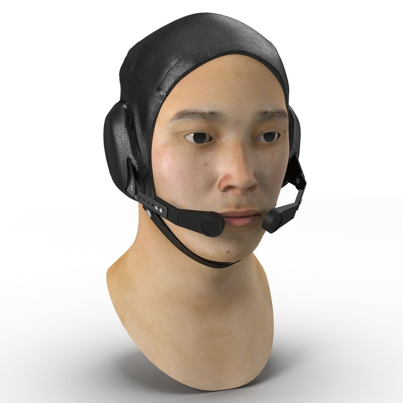 3d chinese pilot head rigged