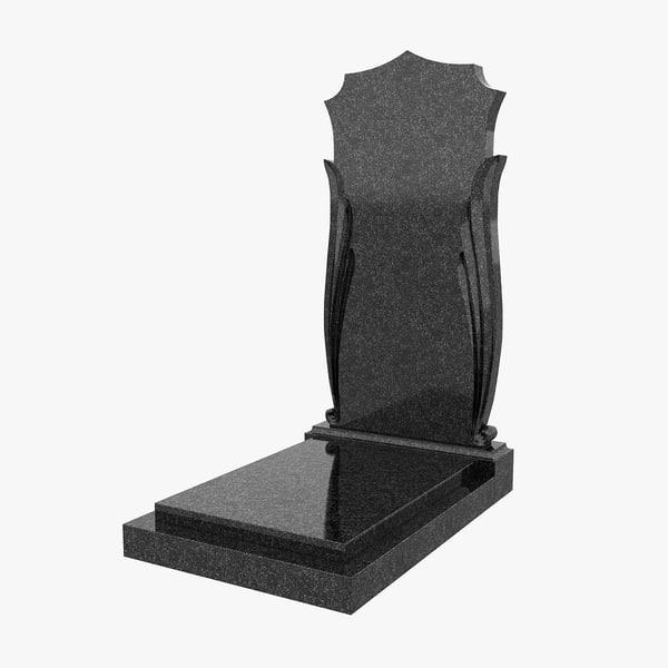 3d granite headstone model