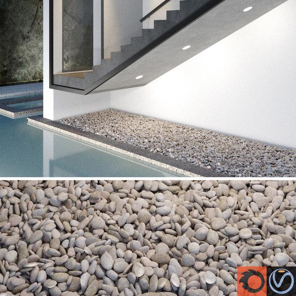 3d model of light pebbles