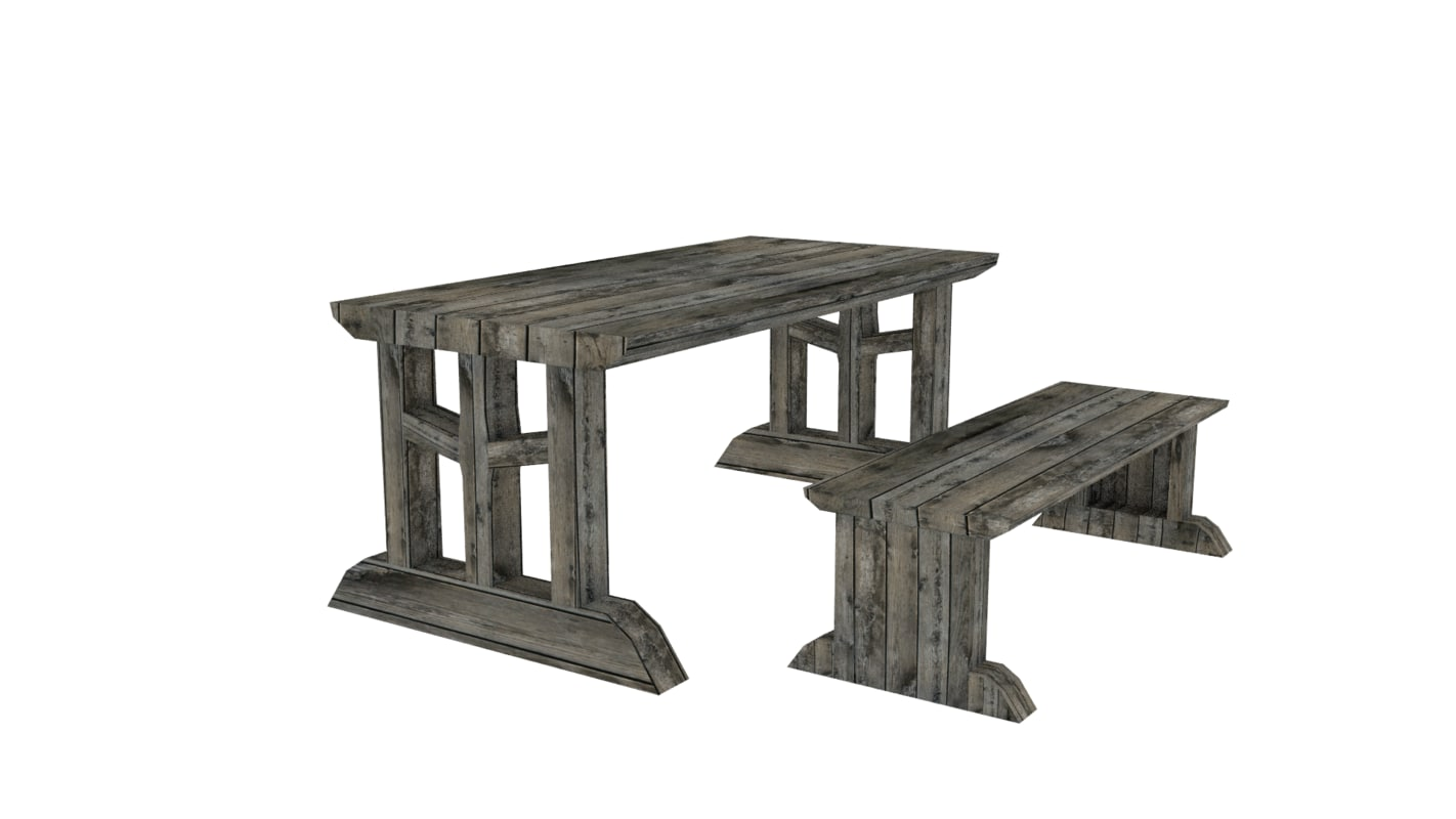 medieval furniture bench table 3ds free
