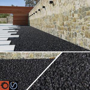 3d model black gravel