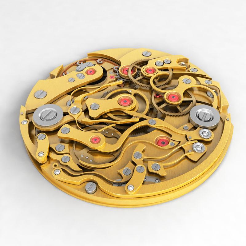 watch mechanism v5 3d model