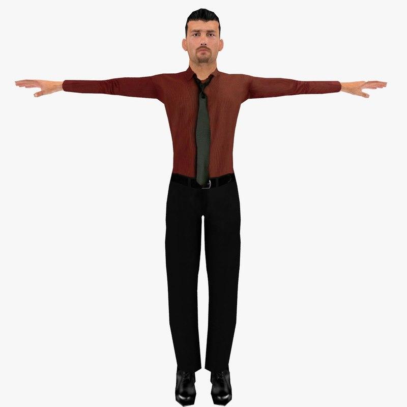 realistic man rigged - 3d obj