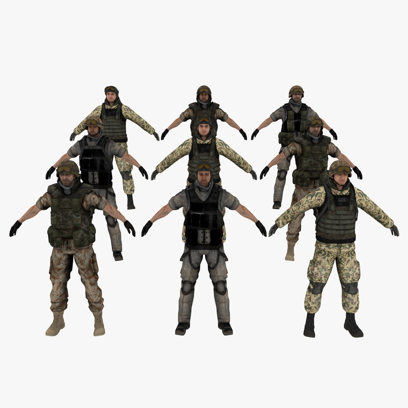 3d military soldiers