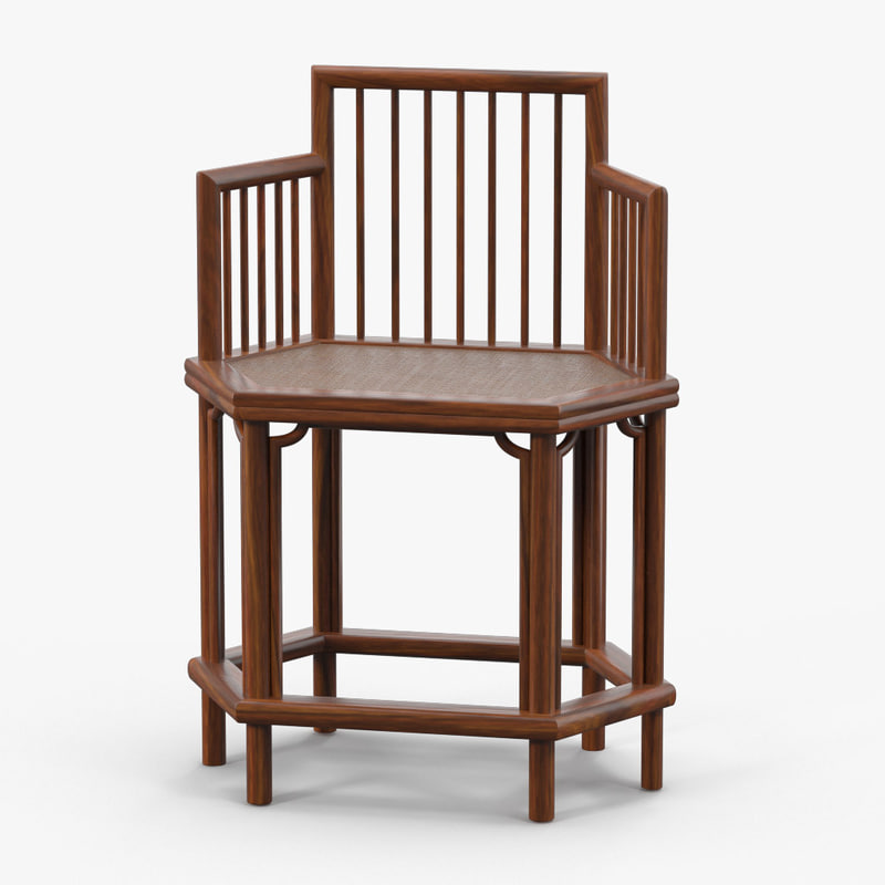 3d max wooden chinese chair