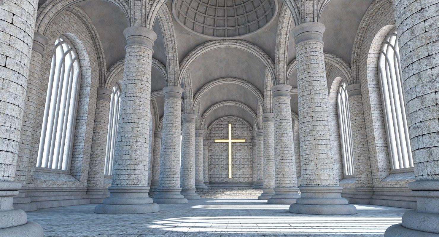 3d max church interior