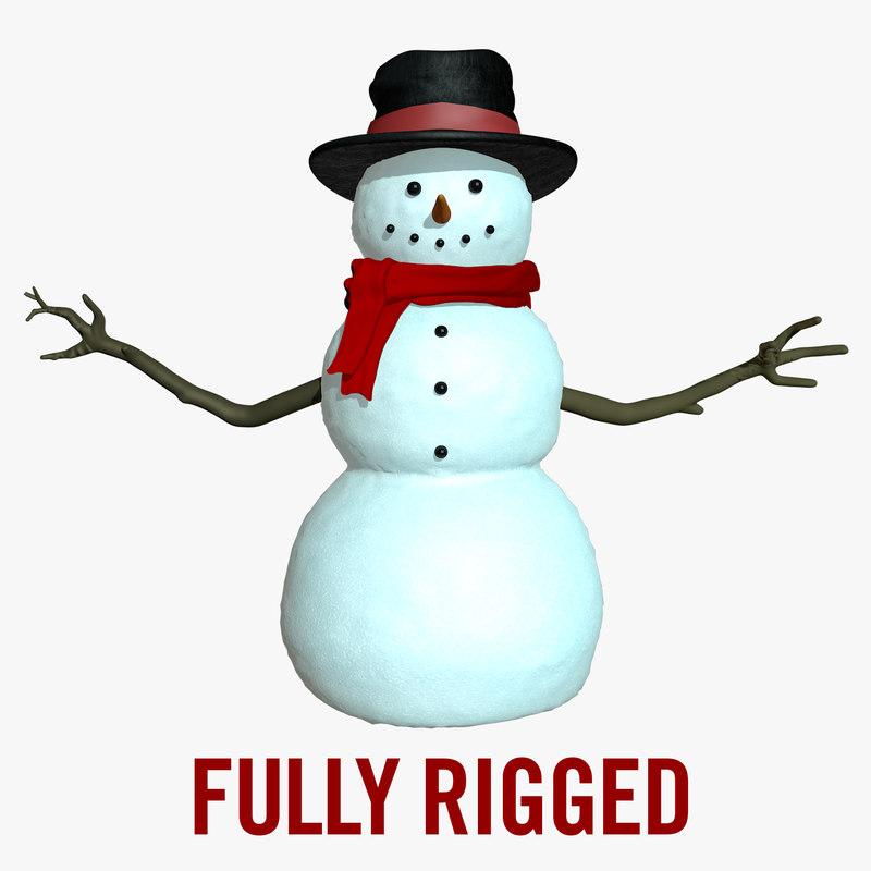 3d c4d snowman rigged