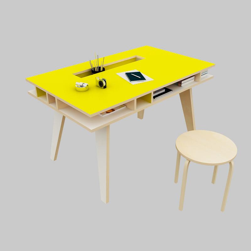 set study table 3d model