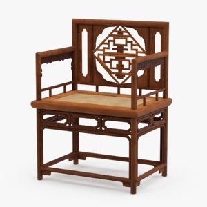 chinese wooden chair 3d model
