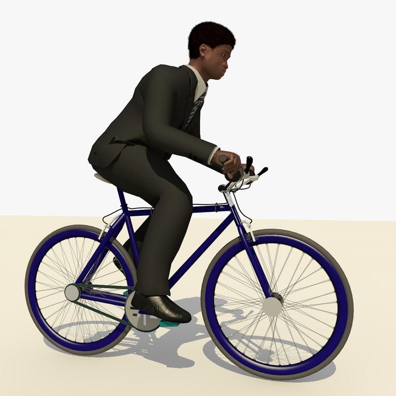 3d model business man black suit