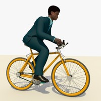 Man With a Blue Suit Riding a Bicycle Animated