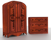 Georgian wardobe and drawers set wood medieval