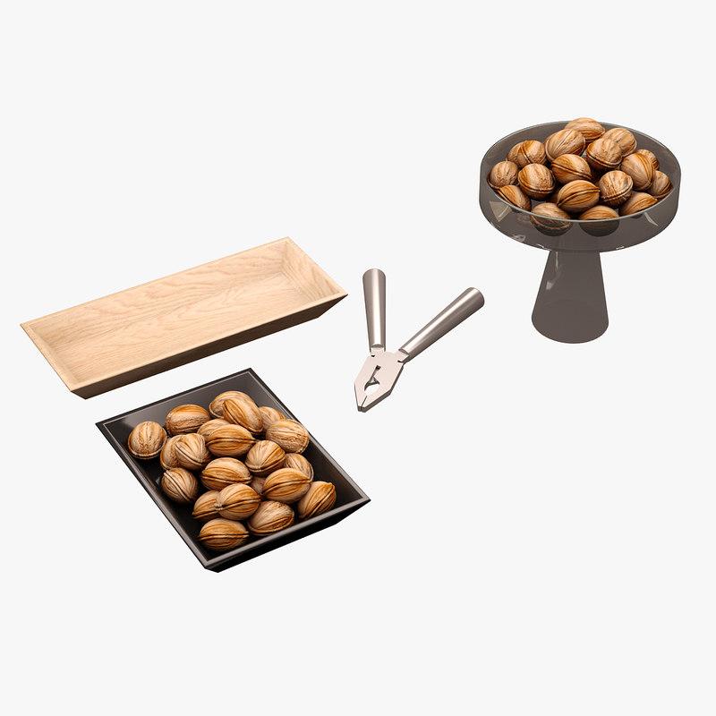 3d model kitchen accessorie walnuts