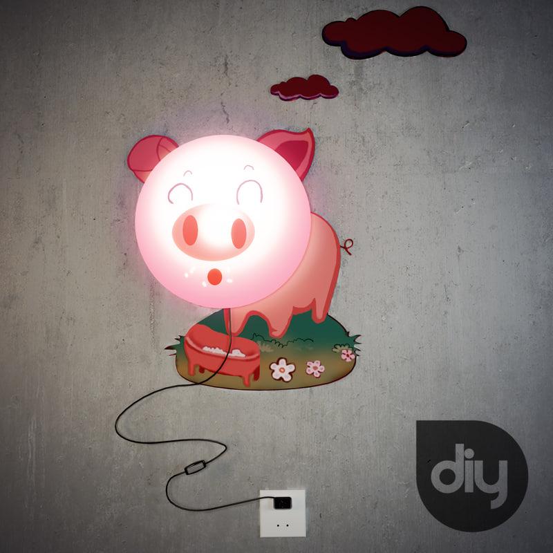 pig diy lamp 3d model