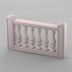 decorative balustrade 3d obj