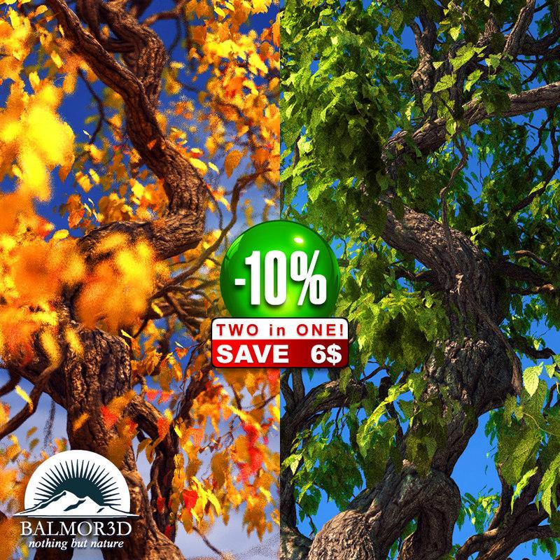 3d broadleaf leaf tree